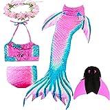 Costume da Bagno a Coda di Sirena da Ragazza - Costumi da Bagno Princess Cosplay per Festa in Piscina con Set Bikini e Monopinna, Set 4 Pezzi