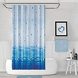 EDLER Textil Duschvorhang 220 x 200 cm EINTEILIG Blau Wassertropfen inkl Ringe