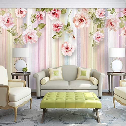 VVNASD 3D Wandbilder Aufkleber Tapete Dekorationen Wand Wohnzimmer Sofa Schlafzimmer Hintergrund Der Europäischen Art Rosen Blume Gestreift Kunst Mädchen Küche (W) 250X(H) 175Cm
