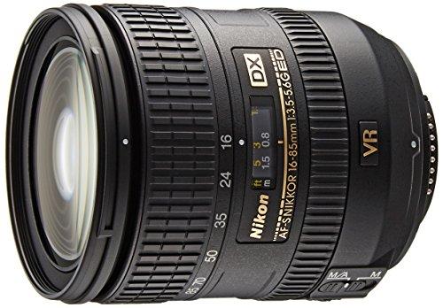 Nikon 16-85mm f/3.5-5.6G ED VR AF-S DX Nikkor Objektiv für Nikon F (24-128mm Brennweite, f/3.5, optischer Bildstabilisator, Durchmesser: 67mm) schwarz (Nikon Manueller Objektiv)