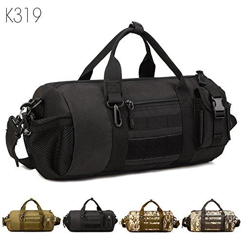 Taktisch Molle Umhängetasche, 4 Farben Outdoor Reisetasche Wasserdicht trommelförmig Handtasche Militär Handtasche Schultertasche mit Trageriemen von FLYHAWK K319Black