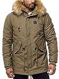 Veste d'hiver pour hommes Slim Fit · · parka avec capuche doublée · look motard · · détails en cuir chaud manteau · café et noir · H2020 dans la qualité de la marque