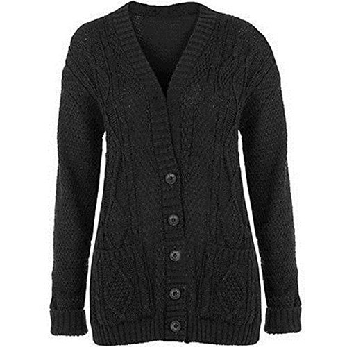 new-womens-ladies-plus-size-chunky-cable-knitted-button-grandad-cardigans-uk8-22