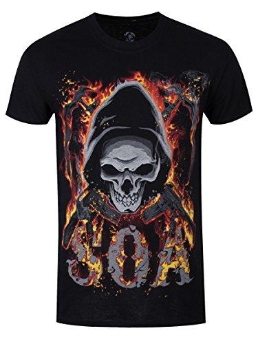 Sons of Anarchy T-Shirt Reaper Flames da uomo in nero
