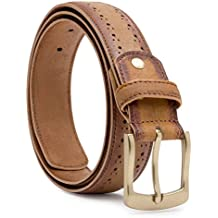 Escaro Royale burnished Leather Belt with brogue perforations-High Brass finish Buckle