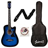 #8: Juarez JRZ38C 6 Strings Acoustic Guitar 38 Inch Cutaway, Right Handed, TBS Transparent Blue Sunburst with Bag, Strings, Picks and Strap