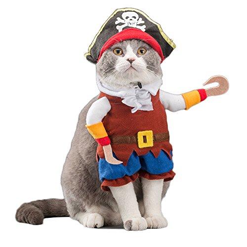 WeeH Hund Kostüm Kleidung Halloween Katze Kostüme Klein Animal Funny Pets Kleidung für Doggy Kitty Kaninchen Piggy Weihnachten Geschenk, L, - Piraten Kitty Kostüm