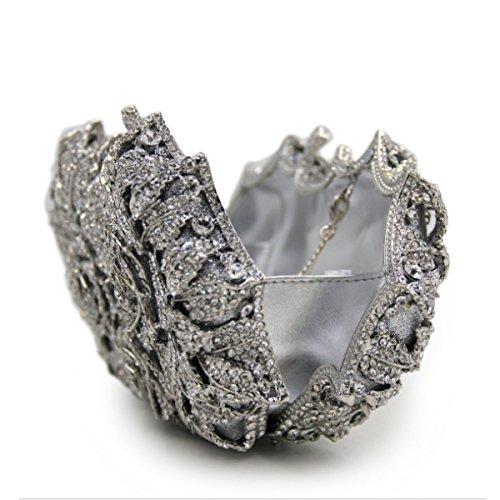 Pochette Di Fascia Alta Fiori Borsa Da Sera Diamanti Di Cristallo Di Lusso Delle Donne Silver