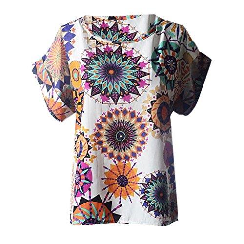 Ineternet Jolies femmes chemisiers occasionnel fleur impression tropicale en mousseline de soie Blusas Blanc-Fleur
