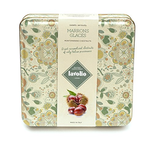 Lavolio Marrons Glaces – Italian Caramelised Chestnuts in Gift Tin – 230g – Nine giant Montemarano chestnuts of only Italian provenance.