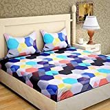 Home Stylish Cotton Printed 3D 140 TC Double Bedsheet with 2 Pillow Covers