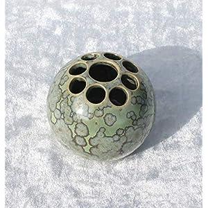 Kugelvase Steckvase Keramik Handarbeit mini grün