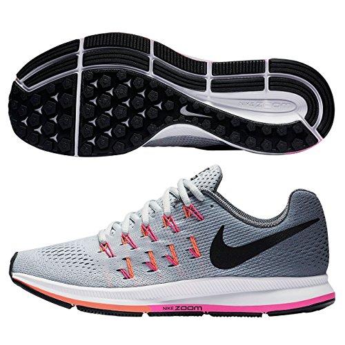 Nike Donna W Air Zoom Pegasus 33 (W) Scarpe Running Argento (Plateado (Pr Pltnm / Blk-Cl Gry-Pnk Blst))