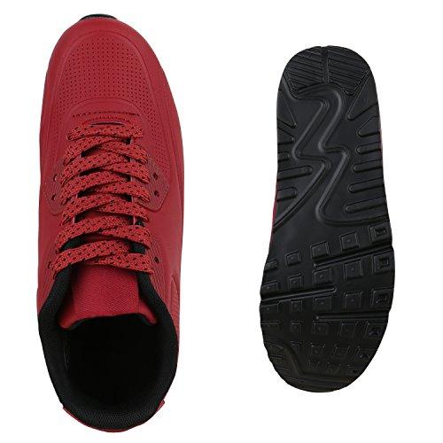 Herren Sportschuhe Leder-Optik | Sneakers Velours Glitzer | Metallic Runners | Freizeitschuhe Schnürer Dunkelrot