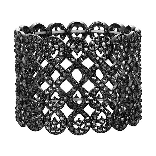 EVER FAITH Damen Armband österreichischer Kristall Art Deco Love Knot breites Braut-Stretcharmband Armreif Armkette Dunkel Grau Schwarz-Ton
