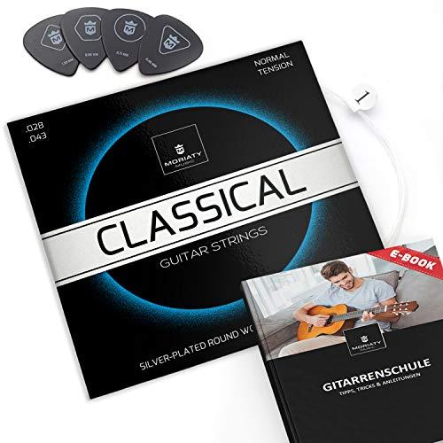 MORIATY® Gitarrensaiten Konzertgitarre ☆ SIEGER 2019¹ ☆ Premium Nylon Saiten für klassische Gitarre, Akustikgitarre (7 Saiten-Set) | INKLUSIVE: 4 Plektren + Extra hohe E-Saite + eBook