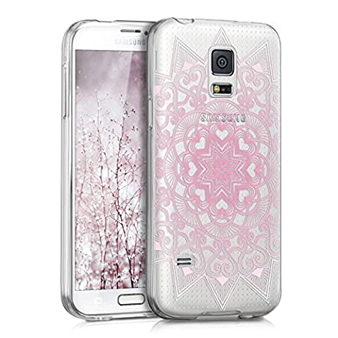 kwmobile Hülle für Samsung Galaxy S5 Mini G800 - TPU Silikon Backcover Case Handy Schutzhülle - Cover klar Herzmuster Design Rosa Weiß