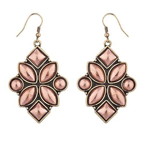 Lux Accessories - Boucles D'Oreilles Élégantes Pierre Brillante Rose Géométrique