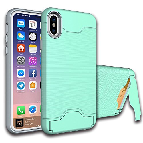 "iPhone X Case, VMAE Hybrid Dual Layer Brushed Card Slot Cover, Ultral Slim Full Body Defender Armor Protective Case, High Impact Bumper Cover With Stand for Apple iPhone X/iPhone 10 5.8"" - Black Green"