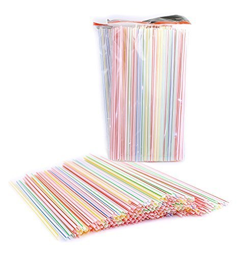 Lot de 450 Plastique jetables droites pailles, couleurs assorties, rayé, 9 de long par CC