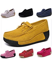 DADAZE Mokassins Damen Loafers Halbschuhe Casual Fahren Schuhe Plateau  Wildleder Slip on Slipper Keilabsatz Freizeitschuhe 089bb6e938
