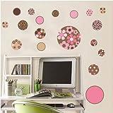Vinilo instyledecal woooowltd flor puntead rosa infantil del arte de la pared etiqueta de papel