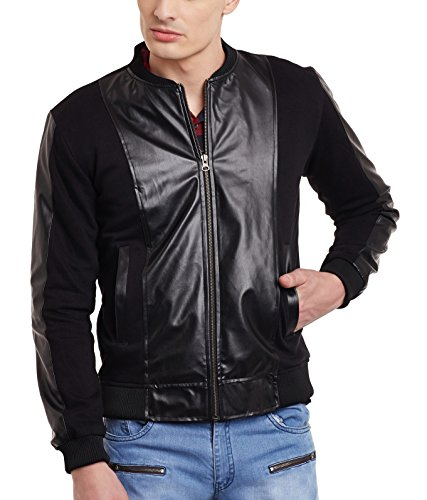 e4b22144 Buy Fugazee Mens' All Black Everything Faux Leather Bomber Jacket Size:-  XXL Online at Low Prices in India | Fugazee Mens' All Black Everything Faux  Leather ...