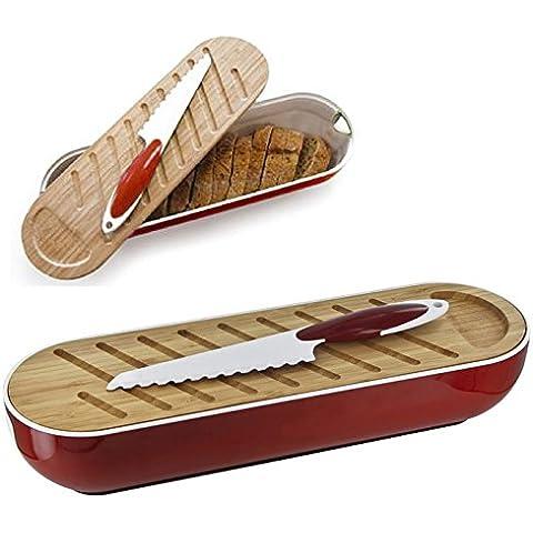 Panera 3 en 1-Tabla para cortar el pan de bambú y cuchillo de pan, color rojo