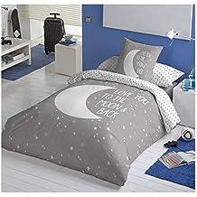 COTTON ARTean Funda Nordica Reversible Moon Grey Cama de 105 ALGODÓN ...