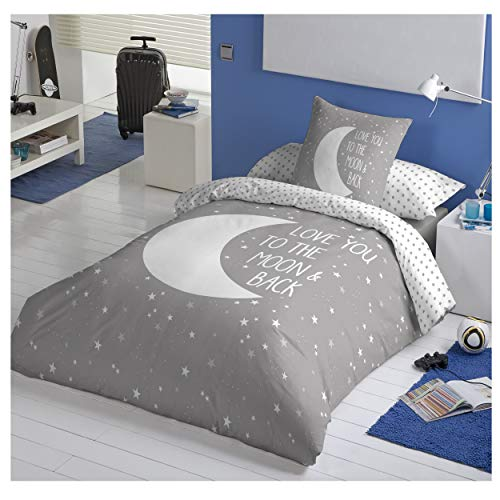 COTTON ARTean Funda Nordica Reversible Moon Grey Cama