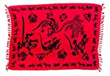 Ciffre Sarong Pareo Wickelrock Lunghi Dhoti Tuch Strandtuch Tribal Gecko Rot Schal