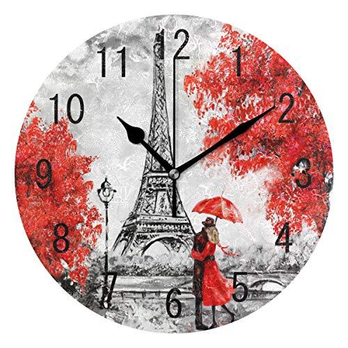 Domoko Home Decor Valentine 's Day Paris Eiffelturm Acryl, Rund Wanduhr Geräuschlos Silent Uhr Kunst für Wohnzimmer Küche Schlafzimmer (Home Valentine Decor)