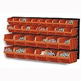 Wandregal + Stapelboxen 32 teilig Box Werkstatt Regal Lagerregal Steckregal