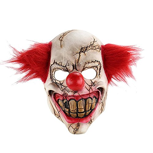 XY Fancy Schreckliche Clown Latex Maske großen Mund rote Haare Cosplay voller Gesicht Horror Make-up Ball erwachsene Geist Party Maske Halloween (Clown Beste Masken Scary)