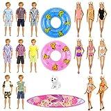 Miunana 12 Pezzi = 3 Abiti per Bambola Ragazzo + 5 Costumi da Bagno per Bambola Ragazza (Selezionati A Caso) + 2 Salvagenti + Surfboard + Cane
