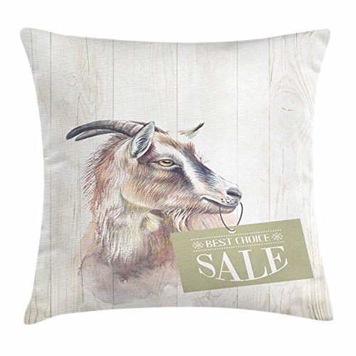 Goat Throw Pillow Cushion Cover, Farm Animal Portrait on Wooden Board Backdrop Domesticated Furry Mammal Vintage, Decorative Square Accent Pillow Case, 18 X 18 Inches, Ivory Brown Black