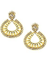 The Jewelbox Floral American Diamond 22K Gold Plated Dangling Earring For Women