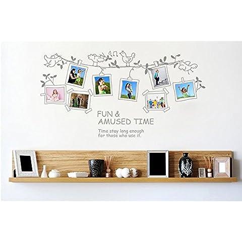 ufengke® Albero Uccelli Vite Carino Photo Frame Adesivi Murali, Camera da Letto Soggiorno Adesivi da Parete Removibili/Stickers Murali/Decorazione Murale
