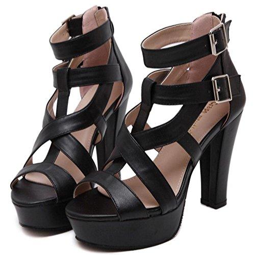 COOLCEPT Femmes Mode Confortable Boucle Sangle de cheville Plate-forme Robe Heeled Sandales Noir