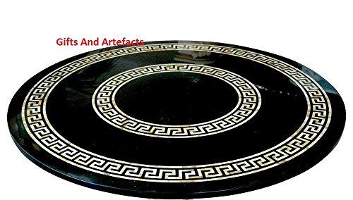 Gifts And Artefacts 60cm, Schwarz, Marmor-Tisch mit Perlmutt Luxus Masterpiece