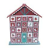 Adventskalender schmales und buntes Holzhaus 32cm zum Selbstbefüllen Weihnachten