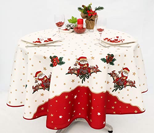 villagesdeprovence.net Nappe de Noel rectangulaire ou Ronde - 100% Polyester (Tissu) - Anti Tache - Infroissable - Pere Noel