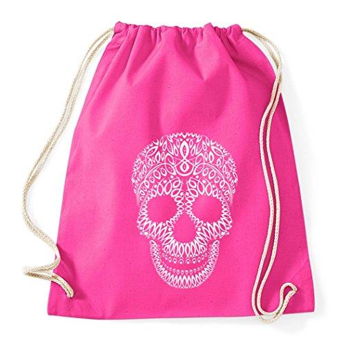 Skull Totenkopf Gym Bag Turnbeutel Rucksack Sport Hipster Style in 8 Farben, Farbe:Pink -