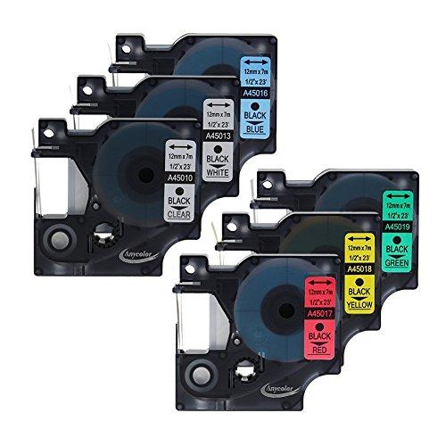 anycolor-6x-insieme-combinato-nastro-etichette-per-dymo-d1-45010-45013-45016-45017-45018-45019-nero-