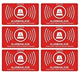6 Stück Aufkleber Alarmanlage | alarmgesichert | Folie 5 x 3 cm | wetterfest | UV Schutz | Aufkleberset