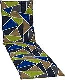 Un mosaico come Hundertwasser avrebbe amato. Certo, egli avrebbe avuto in questo giardino cuscini per sedie indugia un paio d'ore. Triangoli di dimensioni diverse nei toni del blu, verde, sabbia e antracite adornano questo cuscino del sedile. I si...