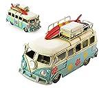 DSstyles 6.3 pulgadas de metal retro clásico T1 camper Van Beach Bus modelo de juguete para el regalo de cumpleaños - azul