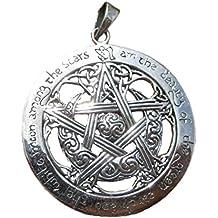 Argento 925Nodo Celtico pentacolo Pentagram stella luna Pegan Wicca Magia Strega Goth gotico collana A12