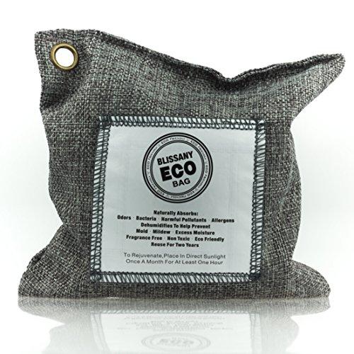 BLISSANY Aktivkohle Luftreiniger aus 100 % natürlicher Bambus Kohle, ideal für Auto, Wohnmobil, Küche, Schrank, Garderobe, entfernt unangenehme Gerüche auf natürliche Art (Grau)