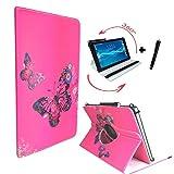 Tablet Tasche für ARCHOS 101c Copper Schutz Hülle Etui Case + Touch Pen - 10.1 Zoll Schmetterling Pink 360_